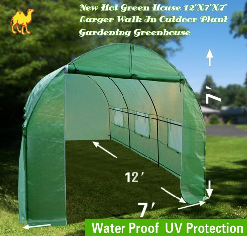 STRONG CAMEL New Hot Green House 12'X7'X7' Larger Walk In Outdoor Plant Gardening Greenhouse