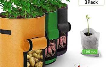 3 Pack 7 Gallon Potato Grow Bags with 100Pcs Non-Woven Seedling Bag-Planting Pouch Fabric Pots Premium Breathable Cloth Bags with Handles and Velcro Window,