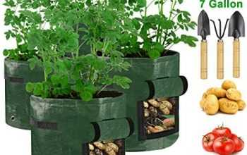 (4 Pack)Potato Grow Bags,7 Gallon Grow Bags Heavy-Duty Thickened Aeration for Planting Potato Seeds,Potatoes in a Bag.Tower Garden Vegetable Planter with Flap and Handle Harvest Window include 3 Tools