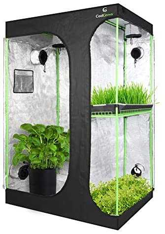 "CoolGrows Upgraded 2-in-1 48""x36""x72"" Mylar Hydroponic Grow Tent with Easy View Window and Floor Tray, 3' x4' Tent Kit for Indoor Plant Growing"
