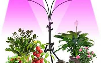 FREDI Grow Light Floor LED Grow Light with Stand Full Spectrum 3/9/12H Timer, Four-Head Sunlike Full Spectrum LEDs Plant Light for Indoor Plants,Tripod Stand Adjustable 14-56.5 in & 3 Modes