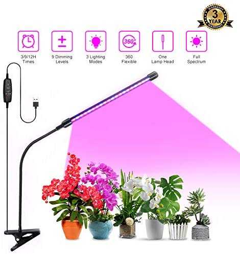 Grow Light Plant Light 20W Growing Lamp 9 Dimmable Level Full Spectrum Grow lamp with Auto On/Off 3/9/12H Timer, Adjustable Gooseneck 3 Switch Modes Growing Light for Indoor Plant
