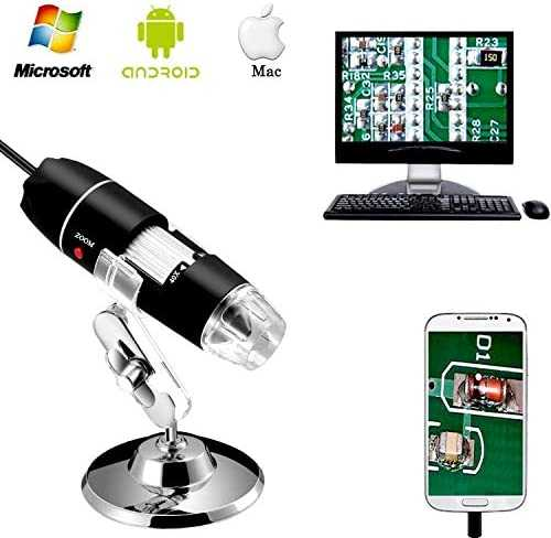 Jiusion 40 to 1000x Magnification Endoscope, 8 LED USB 2.0 Digital Microscope, Mini Camera with OTG Adapter and Metal Stand, Compatible with Mac Window 7 8 10 Android Linux