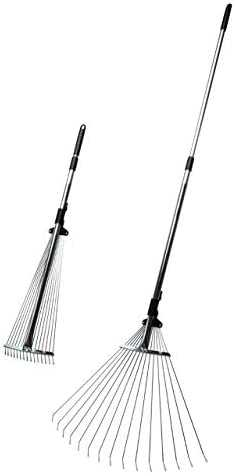 Kings County Tools Adjustable Garden and Leaf Rake with Extendable Handle and Tines