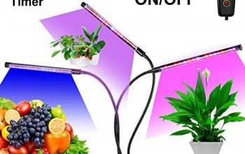 Led Grow Light for Indoor Plants, Plant Grow Light, Adjustable Gooseneck 3 Head Divide Control – 5 Dimmable Levels – Auto ON & Off with 3/6/12H Timer for Seedlings Succulents Micro-Greens