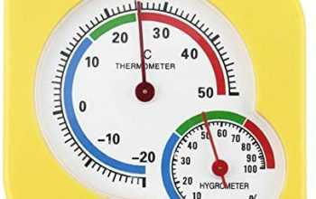 MJIKOO Wet Hygrometer Humidity Thermometer Temp Temperature Meter A7 Mechanical Thermometer Yellow Universal Indoor Outdoor,Yellow