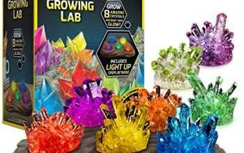 NATIONAL GEOGRAPHIC Mega Crystal Growing Lab – 8 Vibrant Colored Crystals To Grow with Light-Up Display Stand & Guidebook – Includes 5 Real Gemstone Specimens Including Amethyst & Quartz