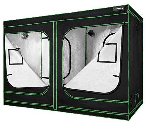 "VIVOSUN 96""x48""x80"" Mylar Hydroponic Grow Tent with Observation Window and Floor Tray for Indoor Plant Growing 4'x8'"