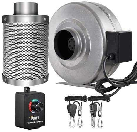 """iPower 4 Inch 190 CFM Inline Fan Carbon Filter Combo with Variable Speed Controller 8 Feet Rope Hanger for Grow Tent Ventilation, 4"""" Fan & Filter, Grey"""