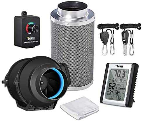 """iPower GLFANXEXPSET4CHUMD 4 Inch 150 CFM Inline Carbon Filter with Fan Speed Controller and Temperature Humidity Monitor Grow Tent Ventilation, 4"""" Kits, Black"""